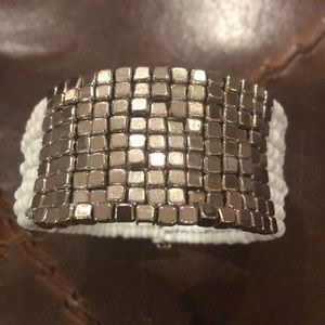 White Beads Silver Cubes Cuff  Bracelet
